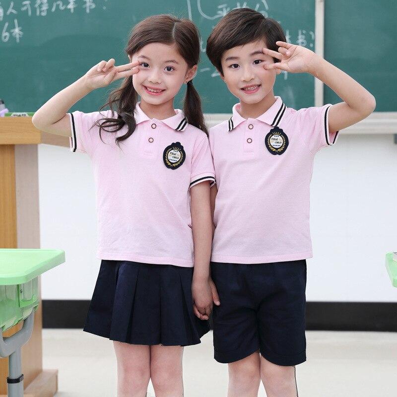 Primary School STUDENT'S School Uniform Customization Teacher Kindergarten Suit Summer Set College Casual Two-Piece Set