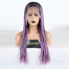 RONGDUOYI термостойкие волокна волос эффектом деграде(переход от темного к синтетический Синтетические волосы на кружеве парик два тона фиолетовый плетеный ящик косы 13X6 парики шнурка для Для женщин