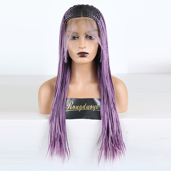 RONGDUOYI Heat Resistant Fiber Hair Ombre Synthetic Lace Front Wig Two Tone Purple Braided Box Braids 13X6 Lace Wigs For Women