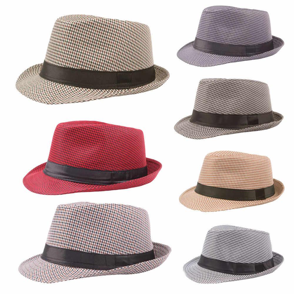 Unisex Fötr Gangster Kap Plaj Güneş Hasır Şapka Bandı Sunhat Hasır Panama Caz Şapka Kovboy fedora şapka Gangster Moda Plaj Kapaklar