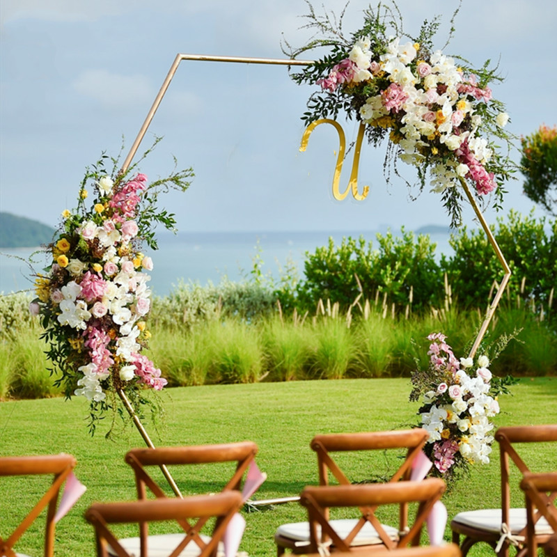 Dropshipping Wedding Props Hexagonal Arch Wedding Arch Iron Shelf Party Decor Backdrop Road Lead Artificial Floral Stand Gold