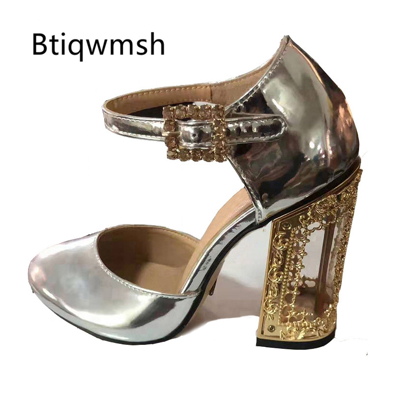 2019 Luxury Design Gladiator Sandals Women Round Toe Rhinestone Buckle Gold Leather Bird Cage High Heel Shoes Woman Wedding Shoe