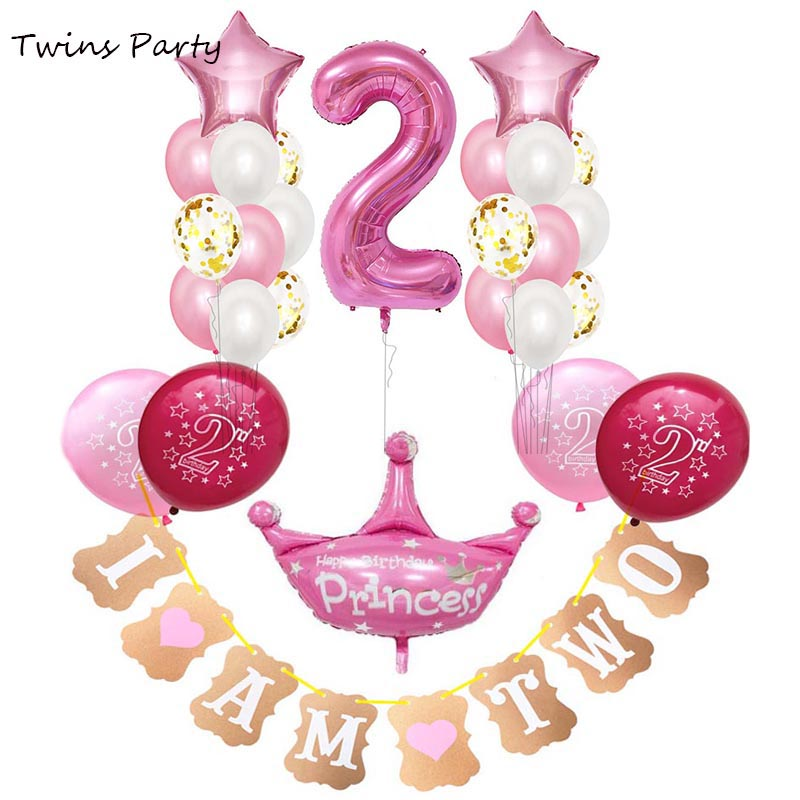 TWIN GIRLS 'WE ARE TWO' BIRTHDAY PARTY BUNTING PINK AND GOLD 2nd BIRTHDAY