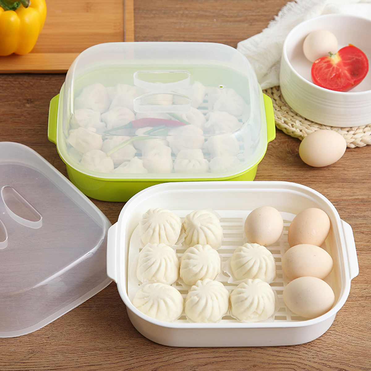 1pc Steamed Buns Steamer Microwave Oven Special Box Kitchen Steamer Heats Up For Kitchen (White)
