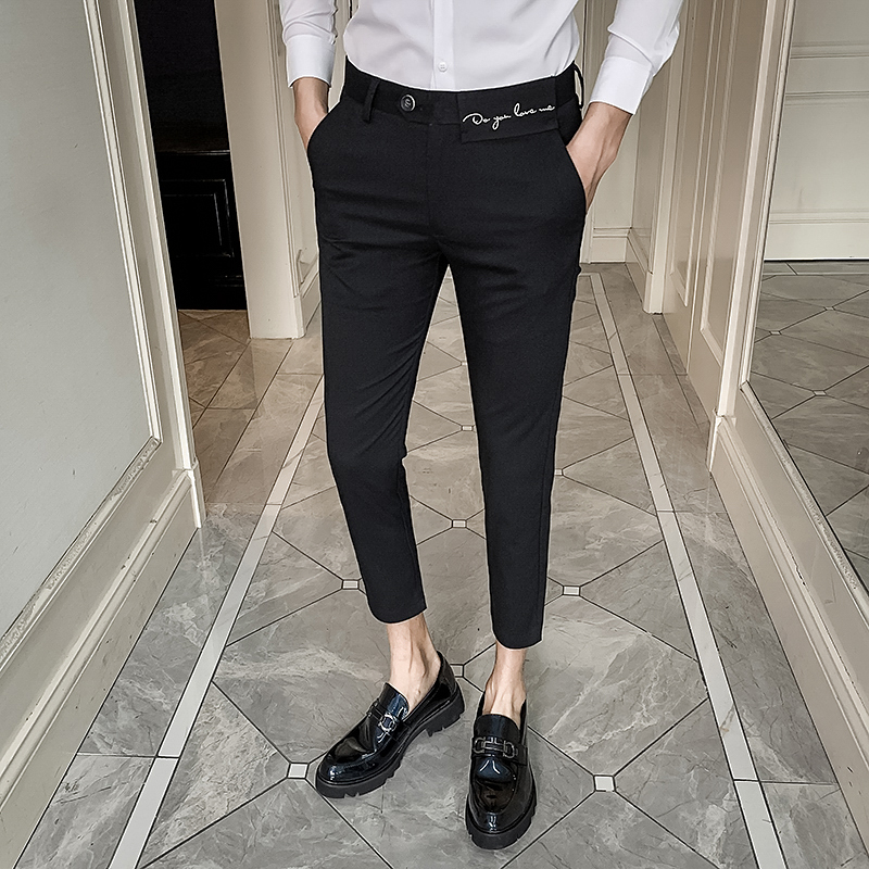 Fashion Suit Pants Men Casual Slim Embroidery Business Dress Pants 2020 Formal Mens Trousers Streetwear Social Party Work Pant