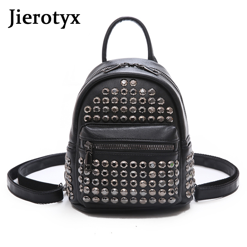 JIEROTYX Punk Style Rivet Backpack Female Famous Brand Women's Backpack PU Leather Ruckpack Women Messenger Vertical Square