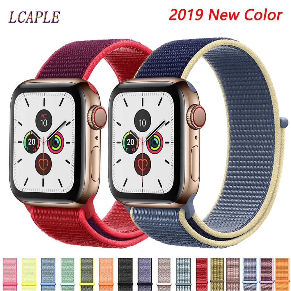 Band untuk Apple Watch Tali Apple Watch 5 4 Band 44 Mm 40 Mm Correa 42 Mm 38 Mm IWatch 5 4 3 2 Nilon Pulseira Gelang Gelang Jam Belt