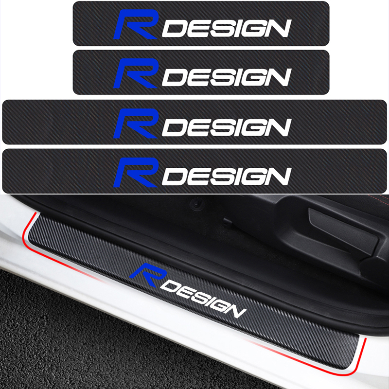 4Pcs Car Styling R DESIGN Emblem Carbon Fiber Vinyl Car Door Sills Sticker Decor For <font><b>Volvo</b></font> RDESIGN V40 V60 C30 <font><b>S60</b></font> S80 S90 XC60 image