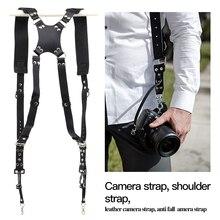 Taşınabilir kamera askısı deri DSLR kayış çift omuz askısı fotoğraf aksesuarları kamera demeti askı