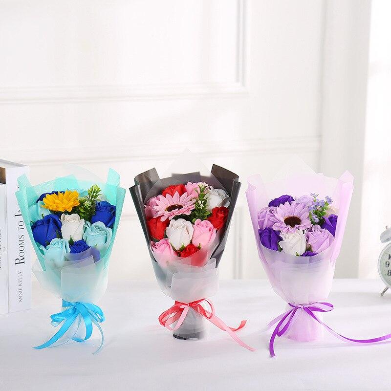 Gift Twelve Flower Side Holding Rose GIRL'S Valentine' Tanabata Festival Gift Model Eternal Life Soap Flower Wholesale