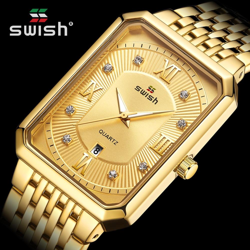Fashion Gold Watches for Men Top Brand Luxury Men's Creative Rectangle Quartz Wrist Watch Waterproof Sports Relogio Masculino