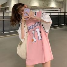 New 2021 T Shirt For Women Long Patchwork Basketball T-shirt Female White Jersey Short Sleeve Student Korean Loose Summer Top
