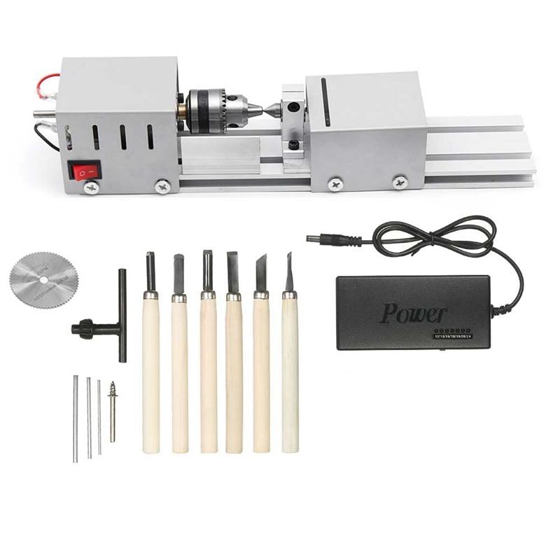 Us Plug,Dc12-24V 96W Mini Lathe Beads Machine Woodwork Diy Lathe Standard Set With Power Carving Cutter Wood Lathe