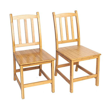 2pcs Bamboo Dining Chairs 1