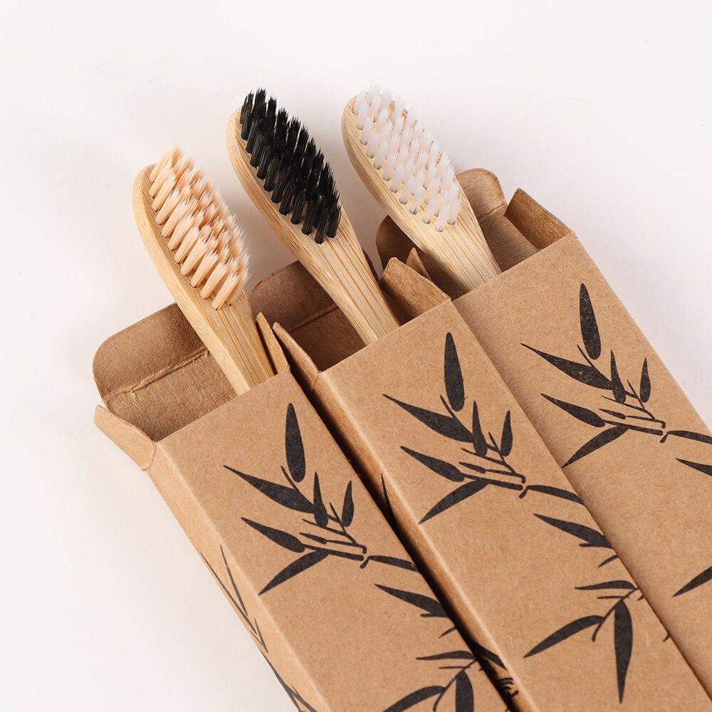1 шт., деревянная зубная щётка с бамбуковой ручкой