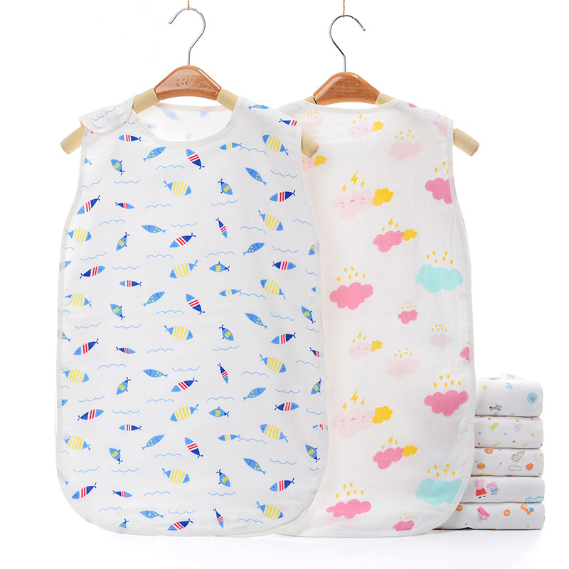 Baby Sleeping Bags 100% Muslin Cotton Gauze Soft 4-Layers Sleeveless Vest Jumpsuit For Toddler Bedding Sacks Baby Bebe Sleepsack