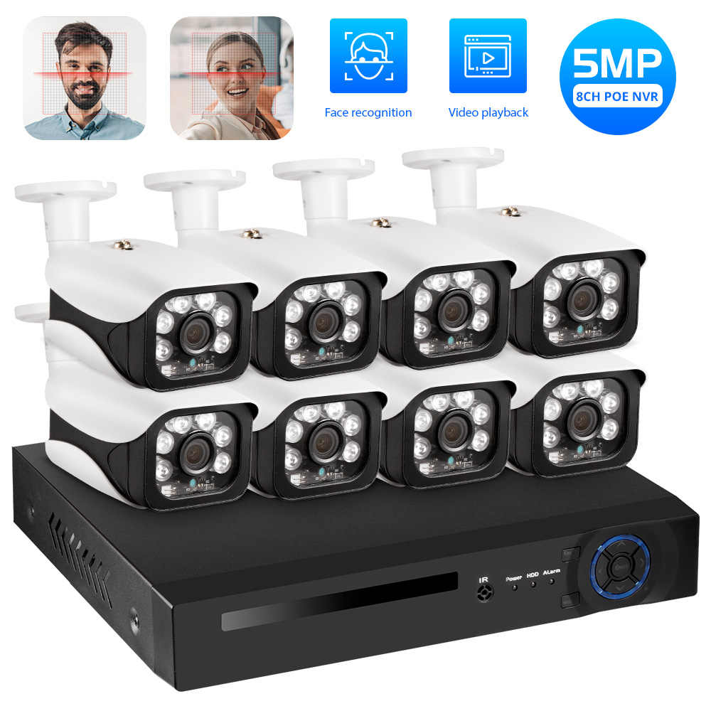 Kerui 8CH 5MP Wireless NVR POE Kamera Keamanan Outdoor IR-CUT CCTV Pengawasan Video Perekam Video Kit Wajah Catatan