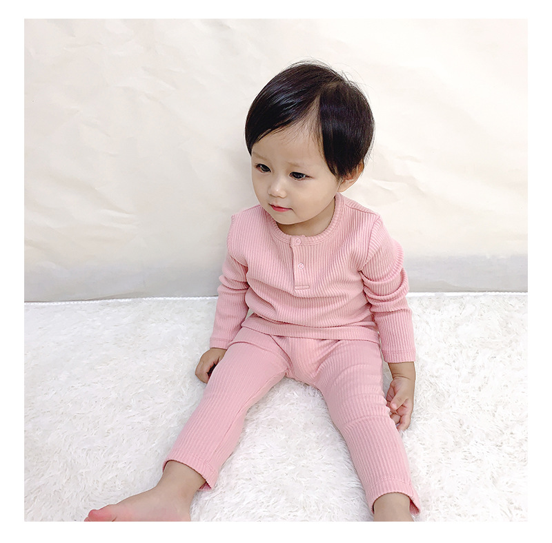 Soft Ribbed Toddler Girl Pajamas For Baby Boys Clothes Set Autumn Winter Children Outfits Long Sleeve Tops Pants 2 Pcs Kids Suit (18)