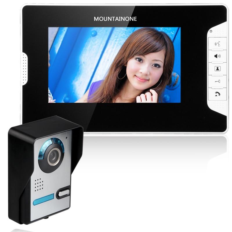Visual Intercom Doorbell 7'' TFT LCD Wired Video Door Phone System Indoor Monitor 700 TVL Outdoor IR Camera Support Unlock