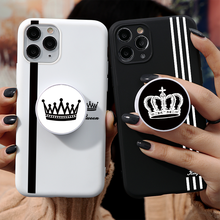 TPU Soft For iPhone 11 Pro MAX Cases King Queen Couples Back Cover For iPhone SE 2020 7 8 6 6S Plus 5 5S Stand Phone Holder Case aertemisi lebron james andre iguodala allen iverson tyronn luee clear tpu case cover for iphone 5 5s se 6 6s 7 plus