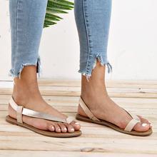 Сандалии без шнуровки для женщин простые босоножки на плоской