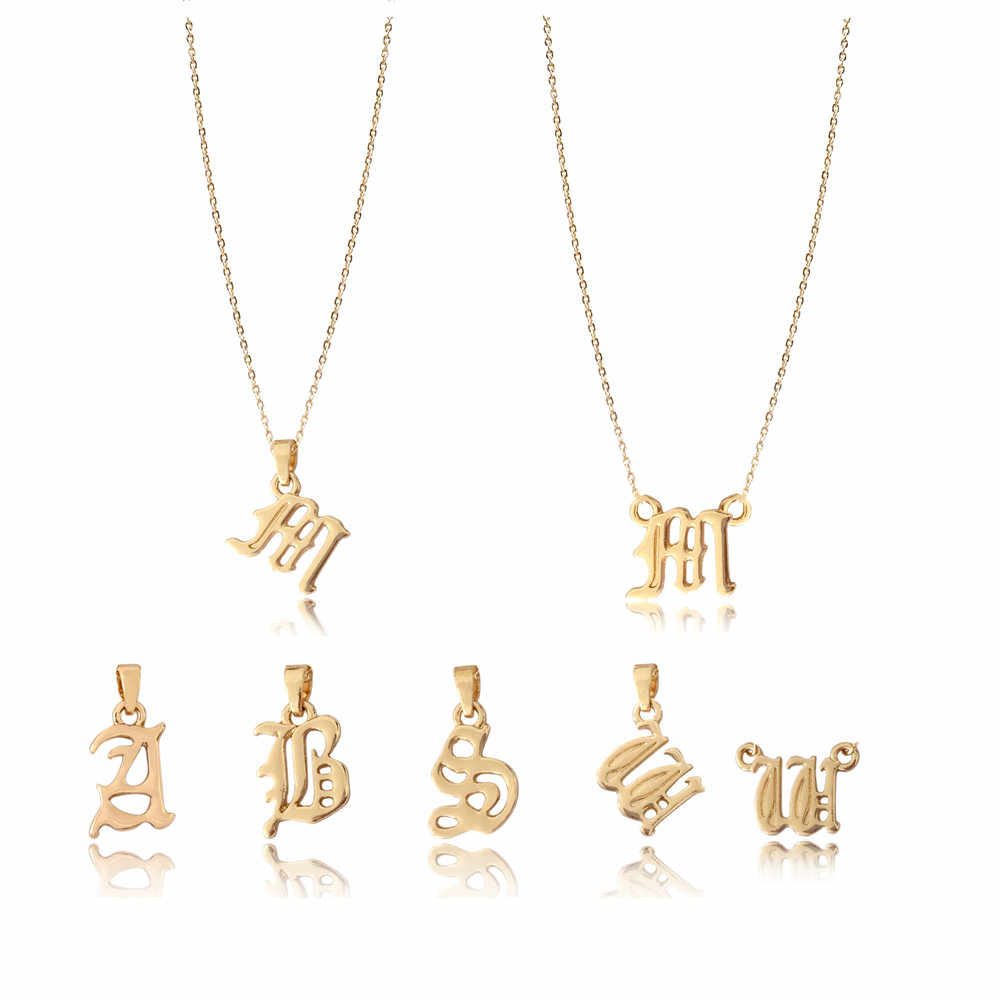 High Quality Old English Font Letter Pendant Necklace Gold Color Letter A/ B/ M/ S/ W Pendant necklace for Lady Trendy Jewelry