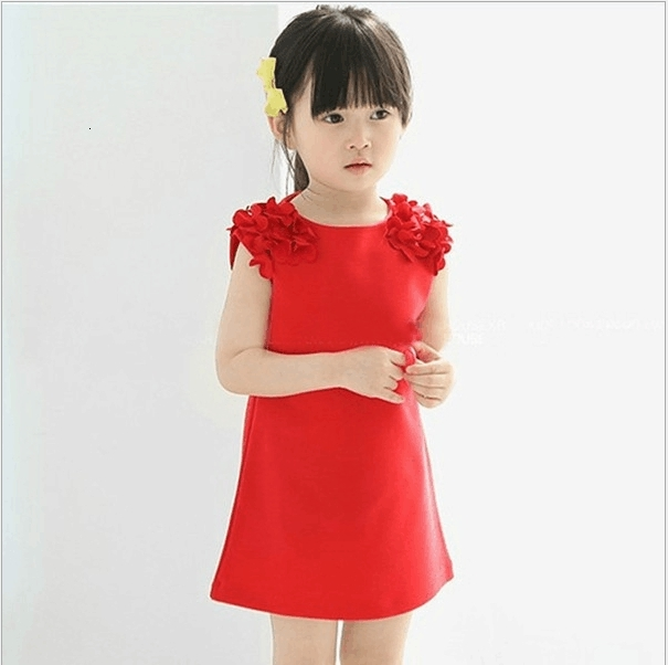 H4211d00a0e6f4f26b6fda93c51186002k Kids Dresses Girls 2017 New Fashion Sweater Cotton Flower Shirt Short Summer T-shirt Vest Big For Maotou Beach Party Dress