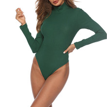 Fashion Romper Womens Sexy Long Sleeve Bodysuit Solid Color Turtleneck Jumpsuit Leotard Top For Ladies Red Playsuit Ropa Mujer