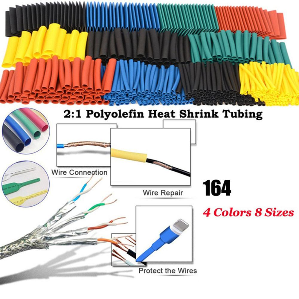 164pcs Set Polyolefin Shrinking Assorted Heat Shrink Tube Wire Cable Insulated Sleeving Tubing For IPhone Cable