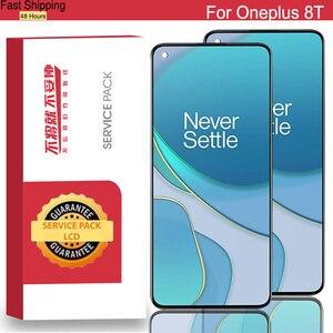 Image 1 - 100% Nguyên Bản 6.55 Amoled Màn Hình LCD Thay Thế Cho Oneplus 8T Màn Hình Bộ Số Hóa Màn Hình Cảm Ứng Một Plus 8T Sửa Chữa các Bộ Phận