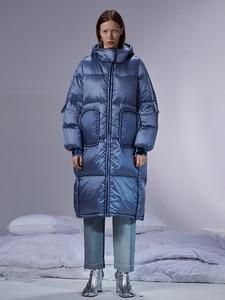 Image 1 - IRINACH45 2020 yeni koleksiyon kalın sıcak kadınlar uzun beyaz ördek aşağı ceket ceket kış