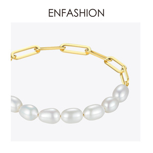 Image 4 - ENFASHION Natural Pearl Link Chain Bracelet Female Gold Color Stainless Steel Femme Bracelets For Women Fashion Jewelry B192069