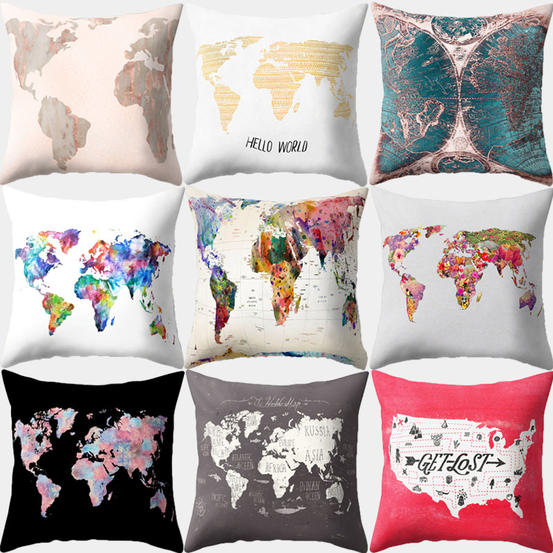 Pillowcase World Map Printed Cushion Cover 45*45 Sofa Cushions Pillow Cases Polyester Home Decor Pillow Covers 10434