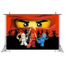 Legoing Mask Ninja Theme Party Backdrop Ninja Super Hero Boy Birthday Party Decoration Photo Studio Photography Background Props