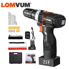 LOMVUM Cordless Drill 25V  Powerful Electric Drill Screwdriver 110v/220V Rechargeable Digital Screen Power Indicator Carry Box