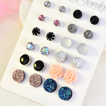 2019 Crystal Simulated Pearl Earrings Set Women Jewelry Accessories Piercing Ball Stud Earring Kit Bijouteria Brincos Wholesale 5