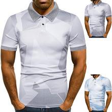 Мужская эластичная рубашка поло с коротким рукавом
