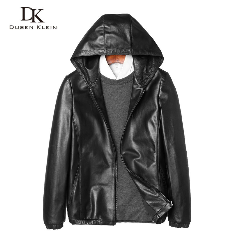 Hooded Leather Jacket Men Dusen Klein Brand New Arrivals Hat Coats Genuine Leather Sheeepskin Male Leather Clothing 71J7828