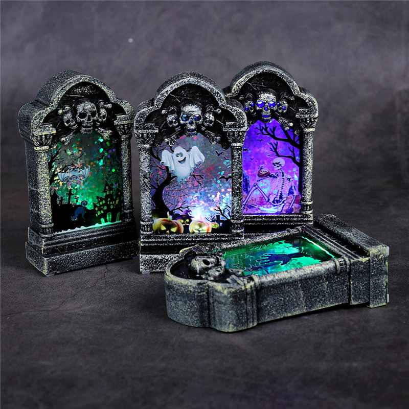 Halloween Decor Light Luminous Scary Tombstone Ornaments Creative_ Tombstone Night Light Pumpkin Skull Lamp Home Party Diy Decor