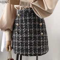 Tweed jupe demi-longueur pour les femmes en automne printemps 2019 nouveau coréen blanc noir Chic jupe courte avec ceinture haute et la hanche