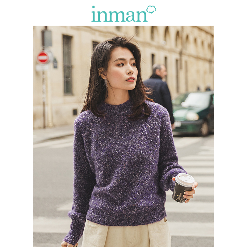INMAN Winter Literary Retro O-neck Bishop Sleeve Women Pullover