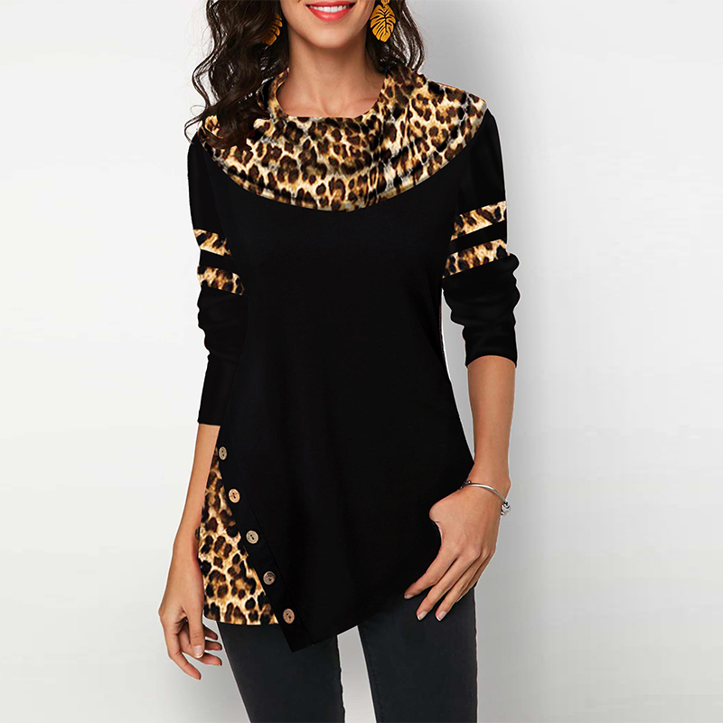 Cotton Leopard Print Women's Blouses Shirts Casual Plus Size 2020 Spring Female Tunic Irregular Button Womens Tops And Blouses