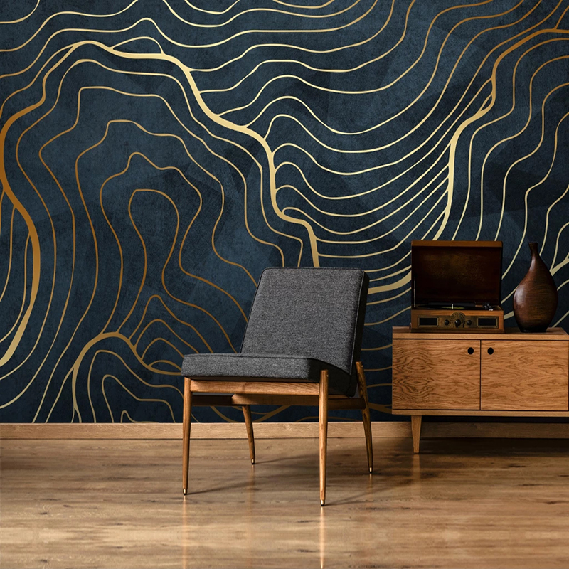 Abstract Golden Lines Large Mural Custom 3D Photo Wallpaper Modern Living Room Study Room TV Background Decorative Wall Paper 3D