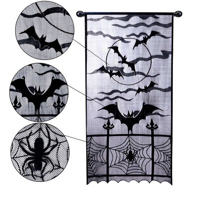 Halloween Prop Lace Window Door Curtain Decoration Cobweb Bat Black Spider Clot