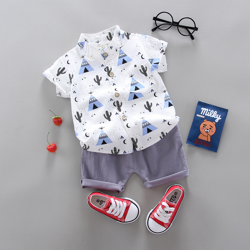 summer Children's suit Clothes Sets  children's clothing  Boys and girls Short sleeve shirt and Pants 2 pieces Clothing sets 1