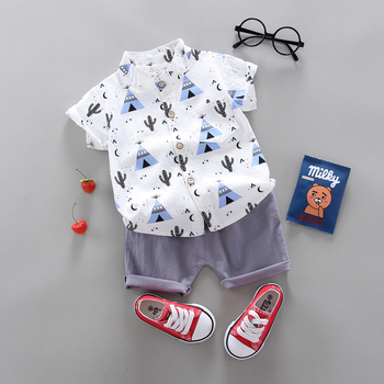summer Children's suit Clothes Sets  children's clothing Boys and girls Short sleeve shirt Pants 2 pieces Clothing sets - discount item  61% OFF Children's Clothing