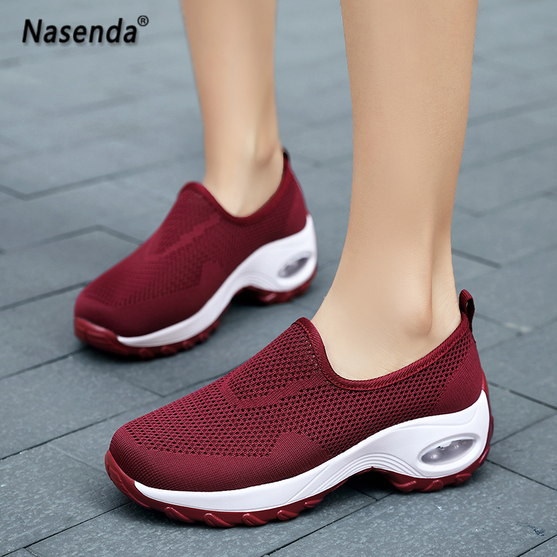 hot sale breathable women shoes home mesh ladies shoes slip on rubber womens sneakers casual fashion walking shoes for woman 38