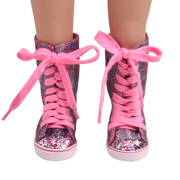 18 inch Girls doll shoes American newborn Purple pink shiny canvas boots Baby toys fit 43 cm baby dolls s229 недорого