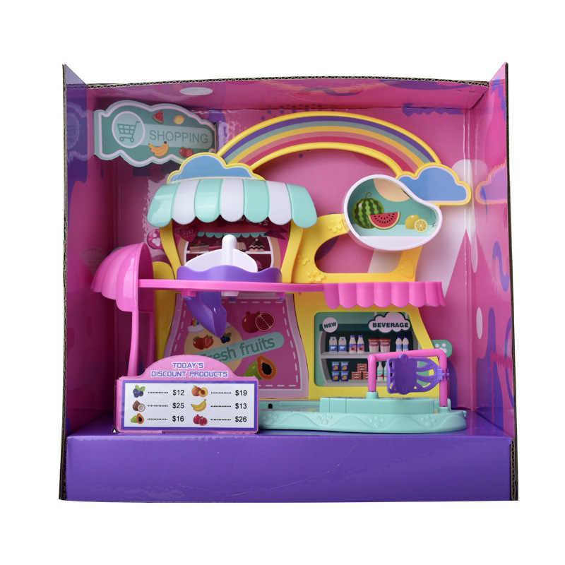 لعبة كهربائية سوبر ماركت الأرنب مع عربة التسوق ألعاب المنزل مجموعات الالعاب محاكاة الأطفال لعبة الفواكه بيع المشروبات