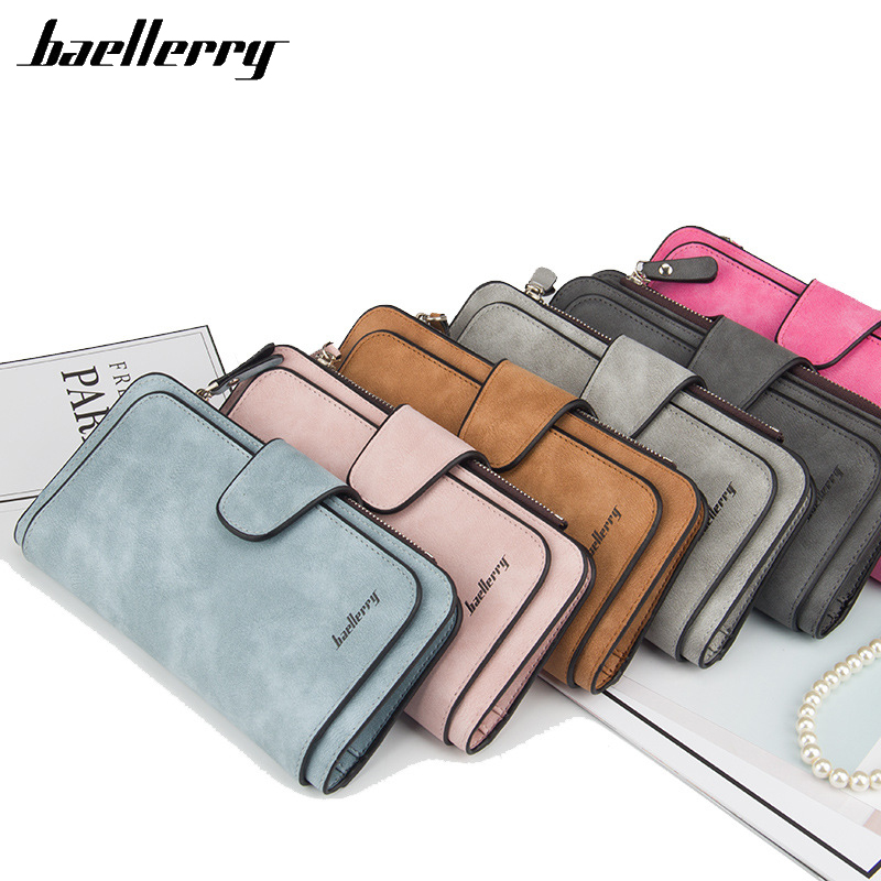Baellerry Women's Wallet Leather Female Purse For Women Coins Pocket Card Holder Money Bags Casual Long Lady Clutch Phone Wallet